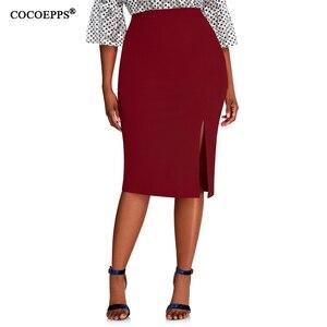 Image 1 - COCOEPPS 2019 Fashion New Brief High Waist Skirt Plus Size bodycon Pencil Skirt Women blue Sexy Slim Elegant Work OL Skirts 6XL