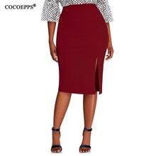 Женская облегающая юбка карандаш COCOEPPS, синяя облегающая юбка с высокой талией размера плюс, 6XL, 2019