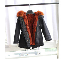 2018 winter children's fur coat sent to overcome the real rabbit fur coat fashion Outerwear Jackets girls and boy coats SW 44