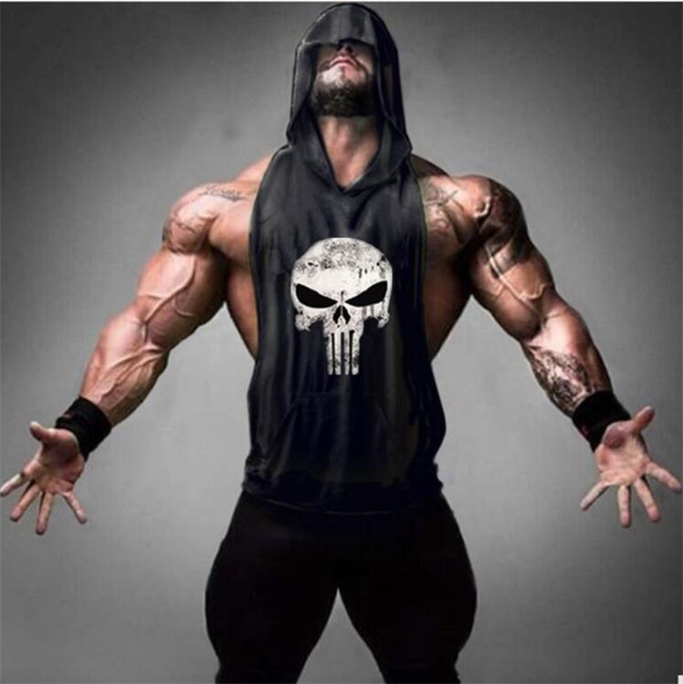 Skull Bodybuilding Stringer Tank Magliette e camicette uomini Palestre Stringer Camicia di Fitness Canotta Uomo Palestre Maglia del Cotone Dei Vestiti con cappuccio