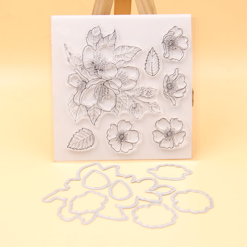 Cutting Dies Set DIY scrapbooking//photo Flower Transparent Clear Silicone Stamp