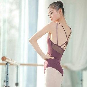 Image 5 - Leotardos de Ballet de tirantes de malla para mujer, uniformes de Ballet para adultos, Mono para gimnasia con tirantes cruzados en la espalda, para verano, 2019