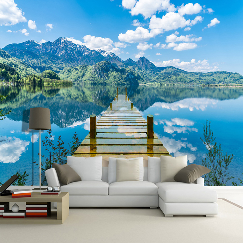 3D Wallpaper Nature Scenery Blue Sky Wooden Bridge Lake Photo Wall Mural Living Room TV Sofa Backdrop Wall Papers For Walls 3 D