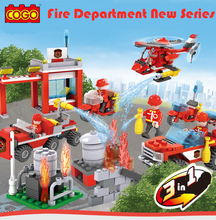 845pcs Building Blocks Fire Station DIY Children's Birthday Present Educational Intelligence Creative Plaything