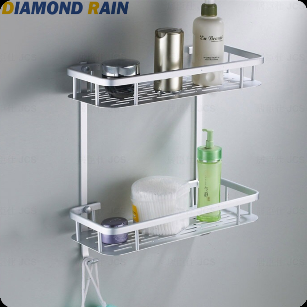 Double Layers Aluminum Bathroom Shelves Hollow Out Modern Silver Rectangular Wall Mounted Dr-54 Bathroom Shelves