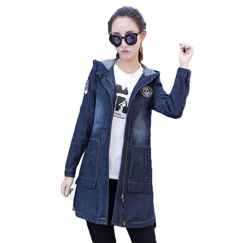 2018 Spring Autumn New Korean Hooded Coat Loose Large Size S-5XL Denim Jacket Women Casual Overcoat Long Windbreaker Coat A306