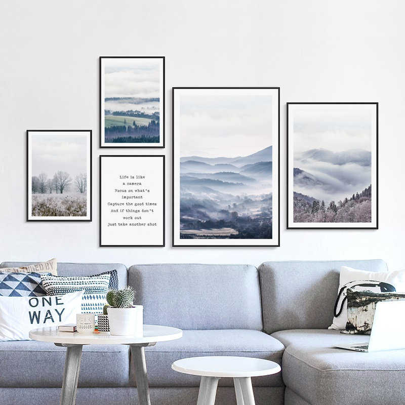 Nordic Nature Landscape Forest Canvas Painting Posters and Prints Wall Art Pictures for Living Room Modern Home Decoration