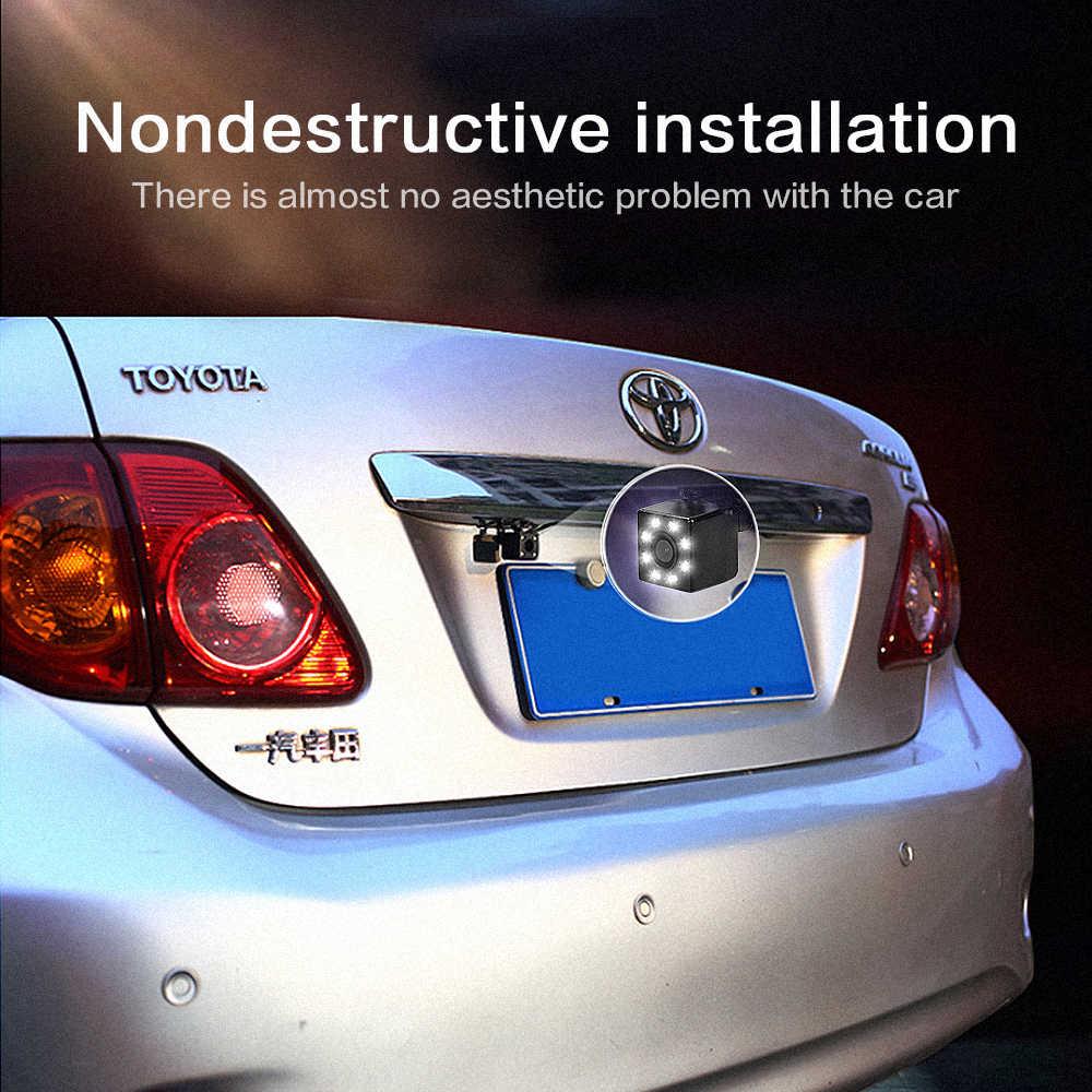 Vista trasera de coche cámara Universal 12 LED de visión nocturna cámara de marcha atrás de aparcamiento impermeable 170 gran angular HD Color imagen