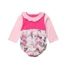 22bfc939e Roupa Da Menina de Flor de Manga Longa Irritar Bodysuits Do Bebê  recém-nascido Bonito Tops Outono Macacão Outfits Roupas Babu Me.