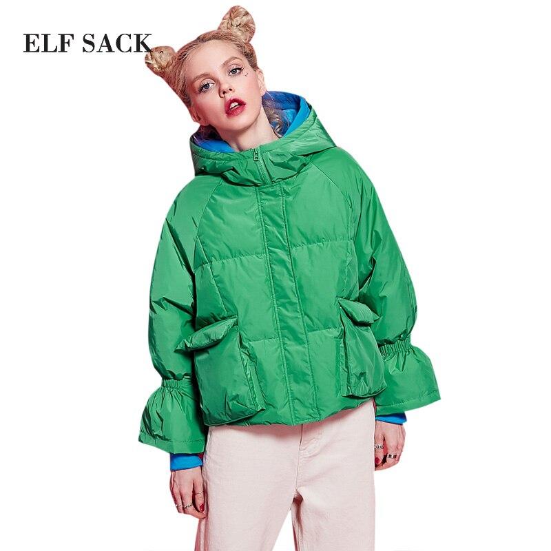 ELF SACK 2017 Winter Print Short Down Jackets Womens Loose Hooded Pockets Flare Sleeve BL Short Down Coats Female Casual Coats