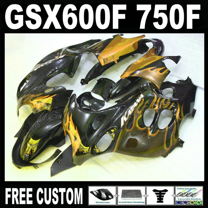 Motorcycle plastic fairing kit for Suzuki GSX 600F 750F 95 96 97-05 yellow flames black fairings set GSX600F 1995 1996-2005 LM33 lowest price fairing kit for suzuki gsxr 600 750 k4 2004 2005 blue black fairings set gsxr600 gsxr750 04 05 eg12