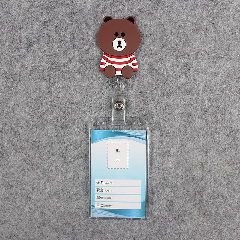 Badge Scroll Nurse Reel Cute Vertical PVC Character Scalable Colors Little Bear Nurse Exhibition ID Plastic Student Card Holder in Badge Holder Accessories from Office School Supplies