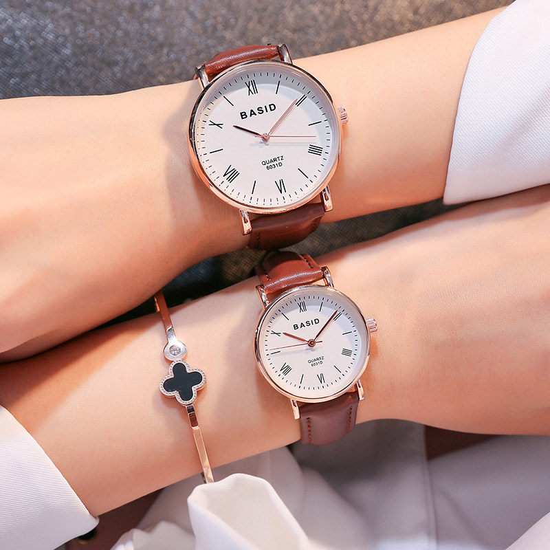 BASID brand Couple Watches for Lovers Pair  Quartz Wrist Watch Fashion Waterproof Men Women Wristwatches relogion Christmas Gift