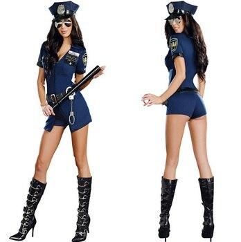 Sexy Police Officer Costume Uniform Halloween Adult Sex Cop Cosplay Slim Dress For Women 1