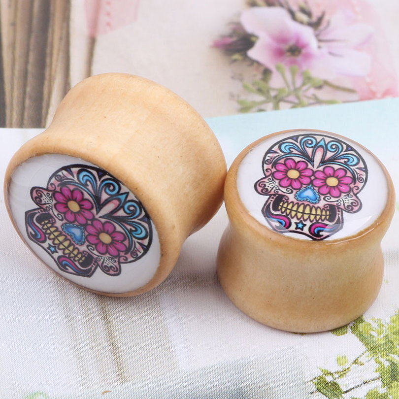 ZLDYOU Solid Wooden Colorful Pattern Skull Bones Ear Piercing Earrings Expansion PLUG Tunnel Ear Expander Stretched Body Jewelry