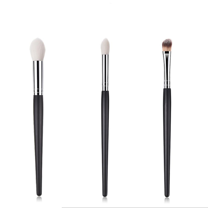 Sunny Elecool Handmade Rattan Tapered Make Up Brushes Black Powder Brush Professional Goat Hair Makeup Tool Makeup
