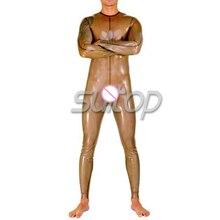 Suitop DHL transparent black latex catsuit no zipper