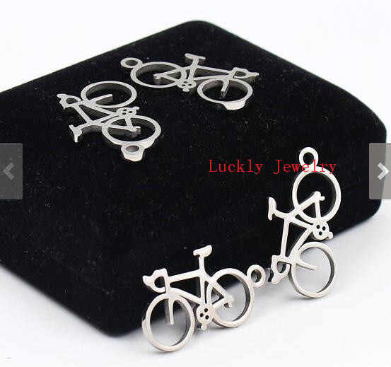 10pcs Lot 17*30mm Fashion bicycle Charms pendant stainless steel Silver Tone DIY Jewelry Finding