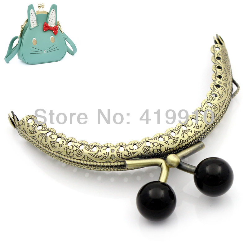 Free Shipping-2PC Metal Frame Kiss Clasp Arch For Purse Bag Lock Handle DIY Handmade Antique Bronze Black Ball 8.8x7.5cm