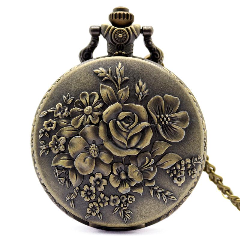 Elegant Retro Bronze Bloom Flowers Women Quartz Pocket Watches Pendant For Ladies Vintage Fob Necklace Chain Clock Best Gifts