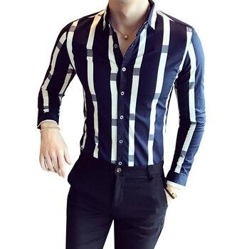 8435c9d3c573fe7 Мужская рубашка с длинным рукавом, 2018 Новая модная дизайнерская рубашка  высокого качества в полоску, британский стиль, Повседневная рубашк.
