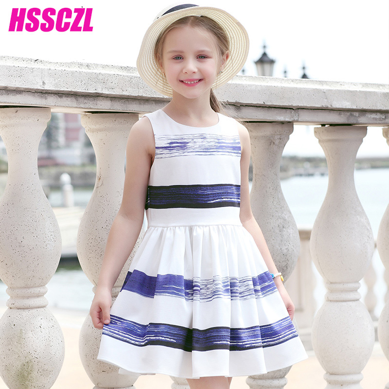 HSSCZL  Girls Dresses Summer 2017 Brand Princess Sleeveless O-neck Striped Casual Ice silk linen Girl kids Baby Party Dress summer girls dresses casual children clothing sleeveless striped baby clothes for girls o neck striped brilliant color