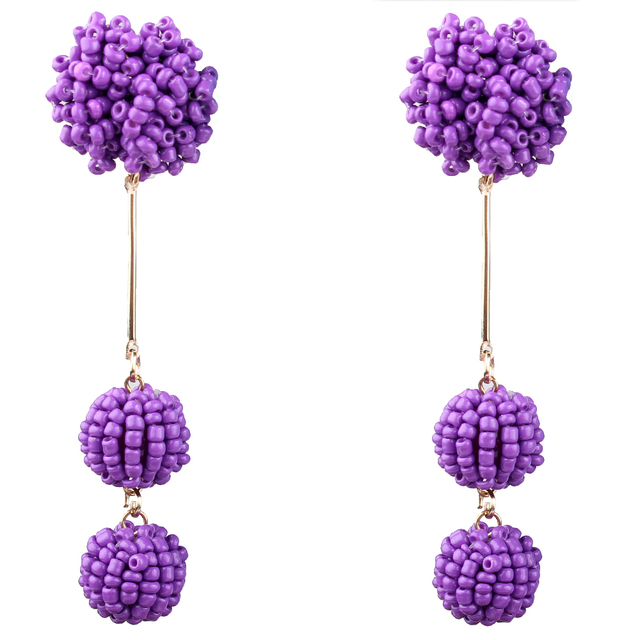Claire Jin Bohemian Small Bead Earrings for Women Handmade Balls Ethnic Jewelry Vintage Party Dangle Earring-8 Color Options