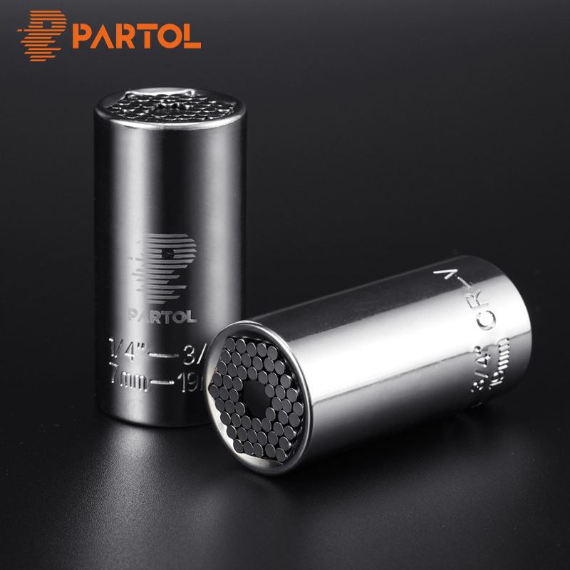 Partol Multi Universal Ratchet Socket 7-19mm Power Drill Adapter Torque Wrench Head Set Sleeve Spanner Key Grip Car Hand Tools