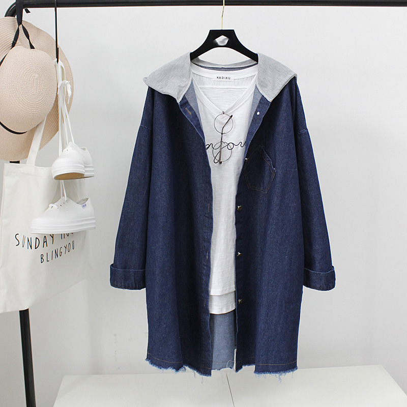 Vintage windbreaker Harajuku Coat Female Streetwear Basic Coats Autumn casual long loose hooded Denim Jacket For Women 1