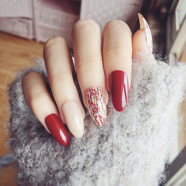 24Pcs Wine Red Cross False Nails with Nail Glue Long Stiletto Almond ...