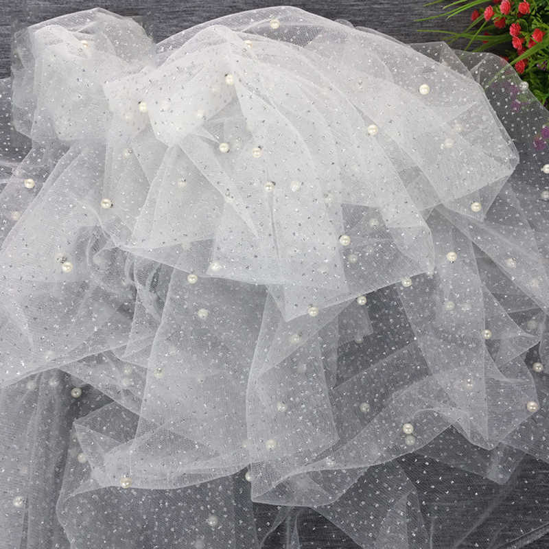 ... 2 Meter lot Width 150cm Sequin Pearls Tulle Fabric Pearl Mesh for Dress  Party Skirts 902e82f81c9c