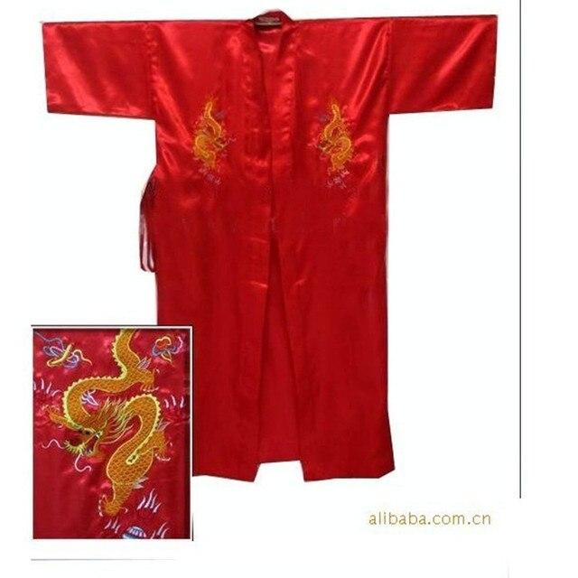 Free Shipping Red Chinese Men's Satin Silk Embroidery Robe Kimono Bath Gown Dragon Size S M L XL XXL XXXL S0103-C