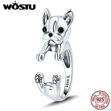 WOSTU 100% 925 Sterling Silver Cool French Bulldog Animal Enamel Open Rings for Women Female Fashion Jewelry Party Gifts BKR411