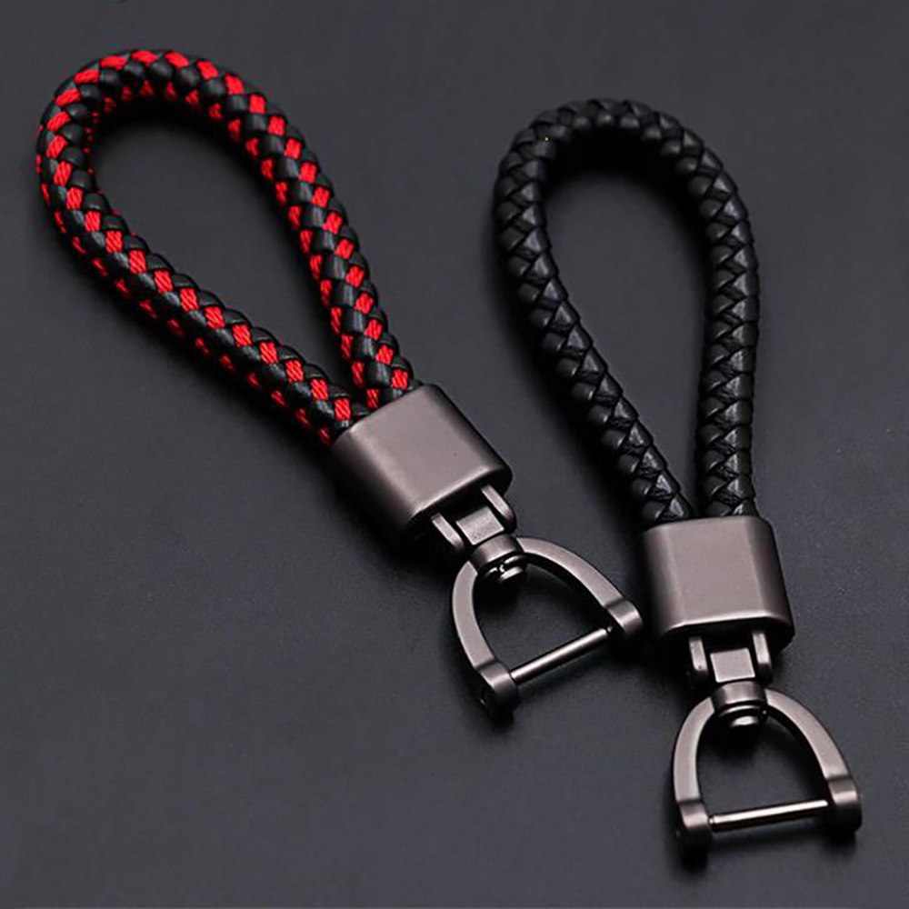 High-Grade Hand Woven Leather Car KeyChain 360 Degree Rotating Horseshoe Buckle Jewelry Key Rings Holder Genuine Bag Pendant