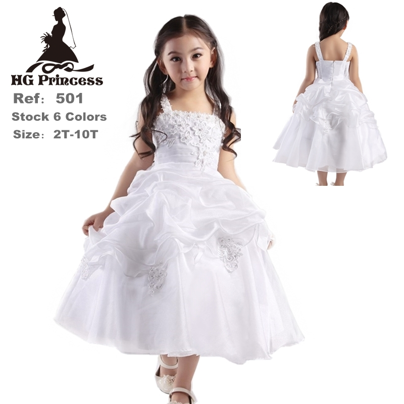 42e21f27f7f HG Princess 2T 10T Girl Party Dress 2018 New Arrival White Flower Girl  Dresses For Weddings Ankle Length Kids Evening Gowns H501-in Dresses from  Mother ...
