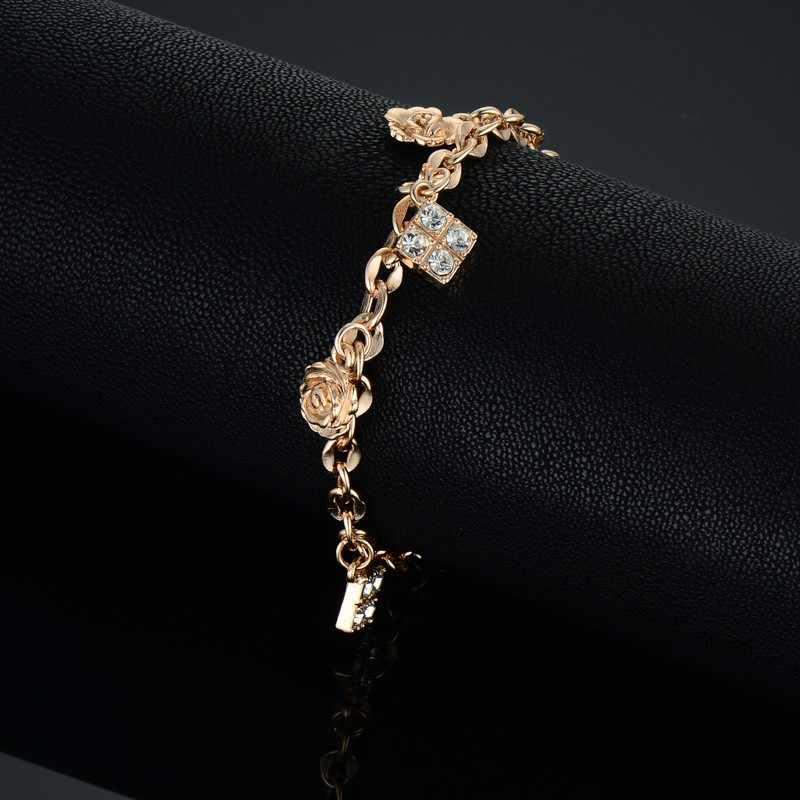 Minimalist Gold Color Small Flower Link Chain Bracelets For Women Friendship Cubic Zircon Charm Bracelets Bangles Jewelry