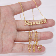 лучшая цена Personalized Custom Gold Color Stainless Steel Name Necklace Pendant Nameplate Necklace With Twisted Chain