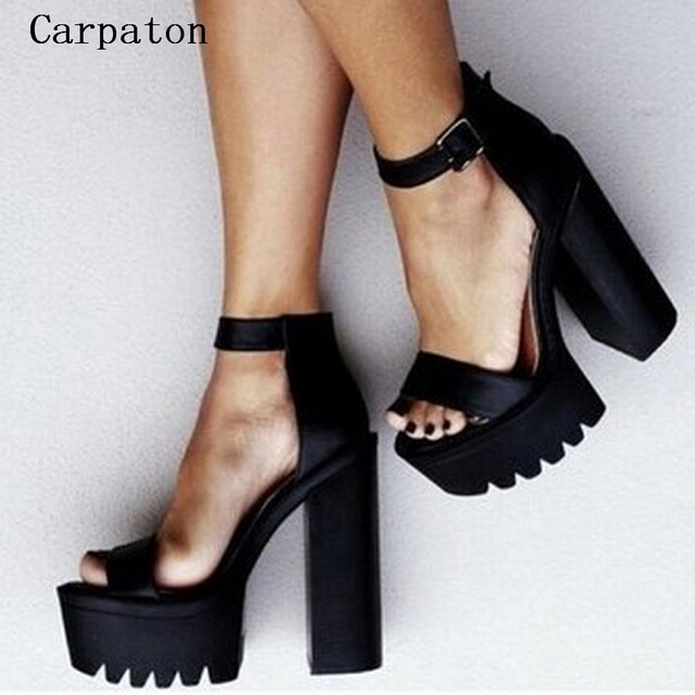 Gorgeous Ankle Strap Chunky Heel Buckle Strap Black Sexy Sandals Open Toe  High Platform Shoes Female