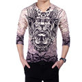 2016 Mens T Shirts 3D Print Fashion New V-Neck Slim Fit Long Sleeve Chinese Style 3D T Shirt Mens Casual Cotton T-Shirt 4XL 5XL