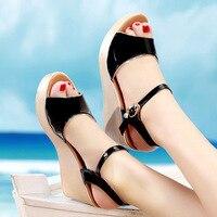 QianNML Summer Women Wedges Heels Patent Leather Shoes 2019 Fashion Platform Sandals Plus size 33 34 42 43