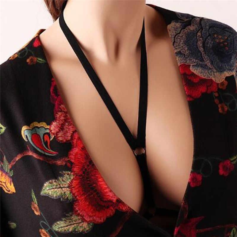 PINKSEE סקסי חזיית רצועות תחתונים שחור אלסטי הלבשה תחתונה קולר צרור שרשרת חוף ביקיני נשים ביגוד קישוט