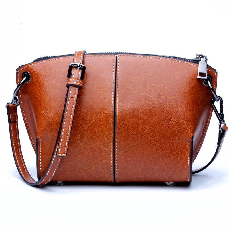 SUNNY SHOP Leather Shoulder Messenger Bag new fashion zipper solid color female
