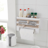 Behokic Spice Sauce Bottle Storage Paper Towel Holder Plastic Wrap Foil Dispenser Preservative Film Rack Kitchen