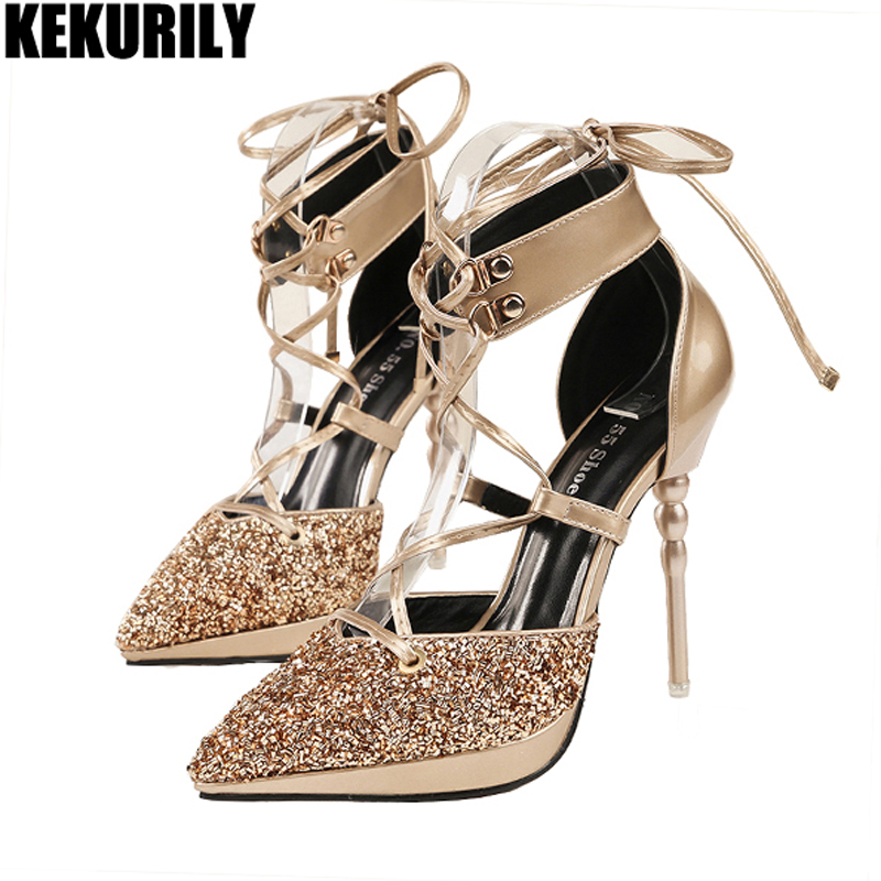 Women Shoes Glitter Bling Lace up Pumps Gladiator Pointed Toe Sandals High Heels Slides Zapatos mujer Black Silver Brown Gold fashion suede leather heeled sandals pointed toe lace up women pumps spikle high heel women shoes zapatos mujer
