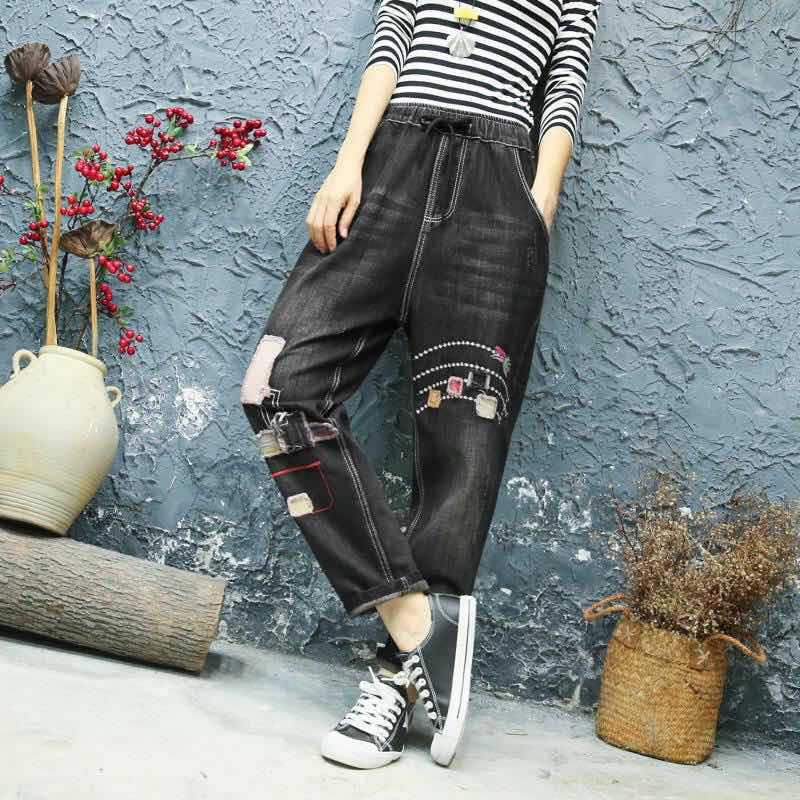 Elástico Suavizador La Z20 Alta Pantalones Harem Bordado Agujero 2088201 Negro Azj Cintura Sueltos Jeans Vintage Para Retro Azj Mujer qtOwwpEA