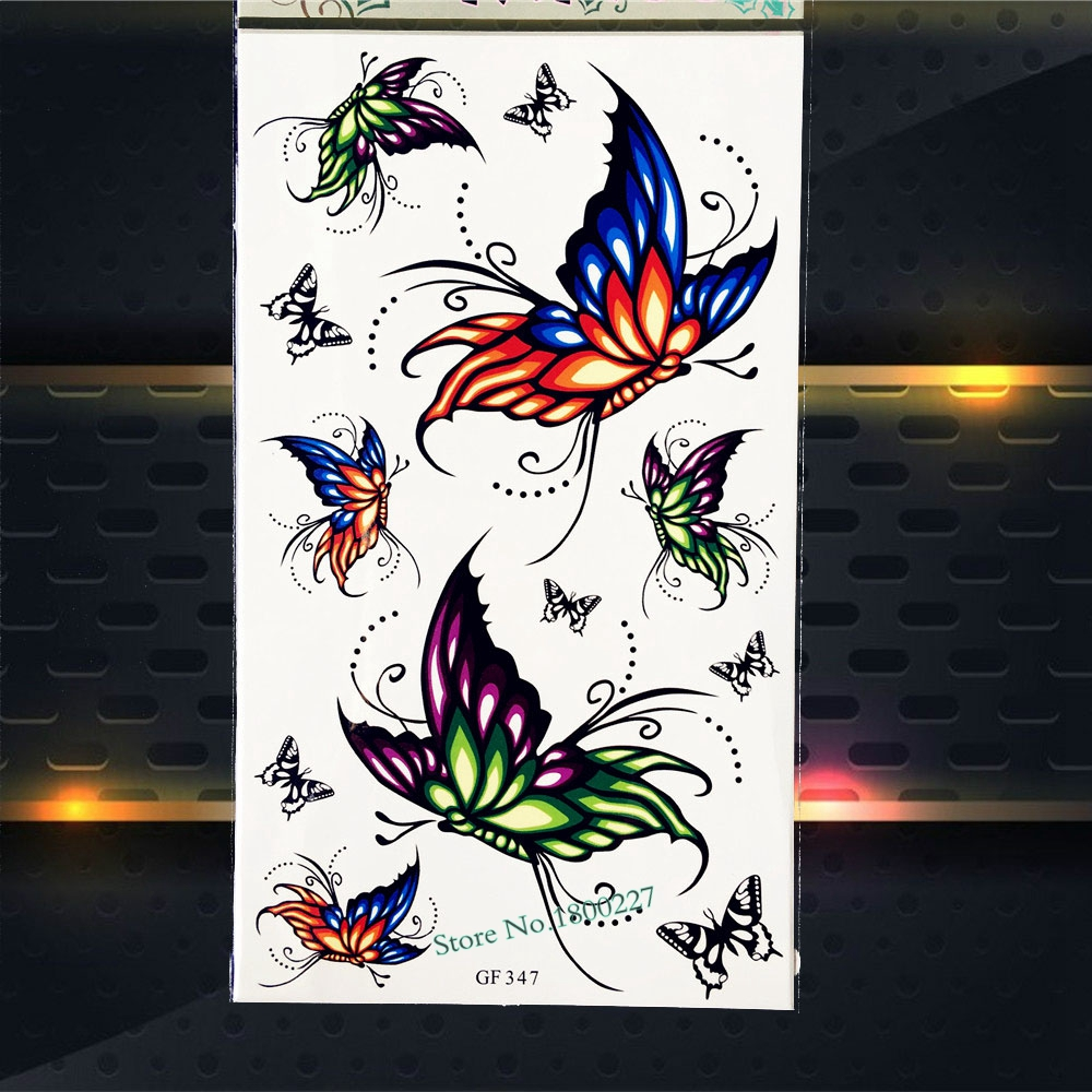 Hot Sell Flying Butterfly Temporary Tattoo Kids Body Arm Flash Tattoo Stickers PGF347 Fake Henna Tattoo Butteflies papillon