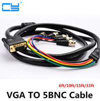 VGA To 5BNC Cable VGA To RGBHV Component BNC Breakout Video Adapter RGBHV Cable Connection Monitoring