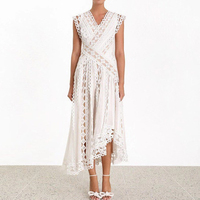 White Hollow Out Dress Designer Best Quality Runway Dresses 2019