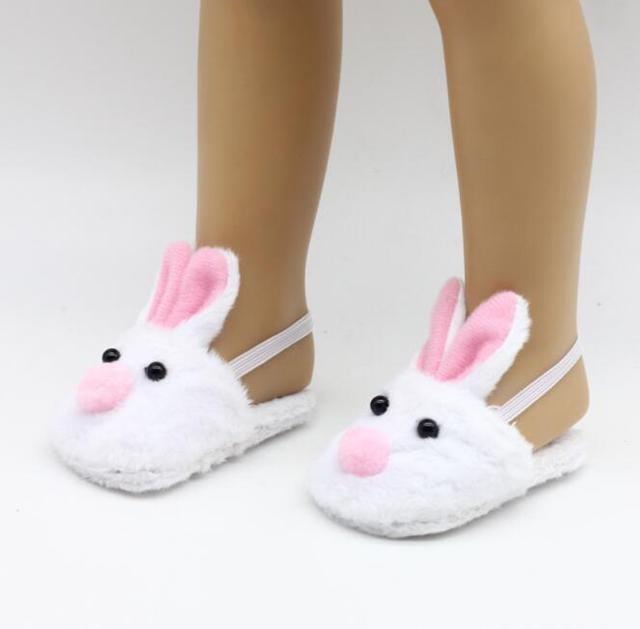 """12 Colors Doll Rabbit Slippers Fit 18"""" American Girl Doll Or 43cm Baby Born zapf Doll Slippers Children Best Birthday Gift"""