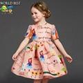 2016 Nueva Primavera Niños Vestidos Para Niñas de Verano Niñas Ropa de Moda de Alta Calidad Por Encargo de Graffiti Vestido Party Girls